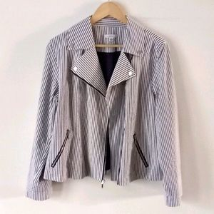 Isaac Mizrahi Denim Blue Striped Moto Jacket